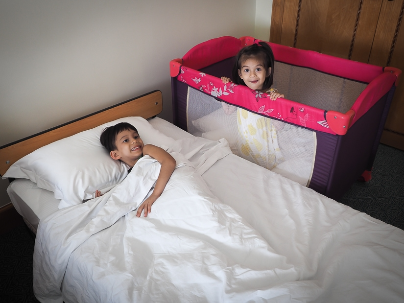 The childrens cot and childrens bed in our room at the Grand Hyatt Muscat