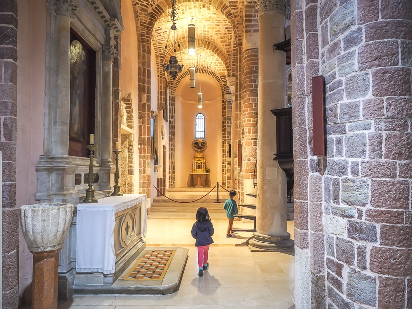 Our kids in the Cathedral of Saint Tryphon (Kotor Cathedral)