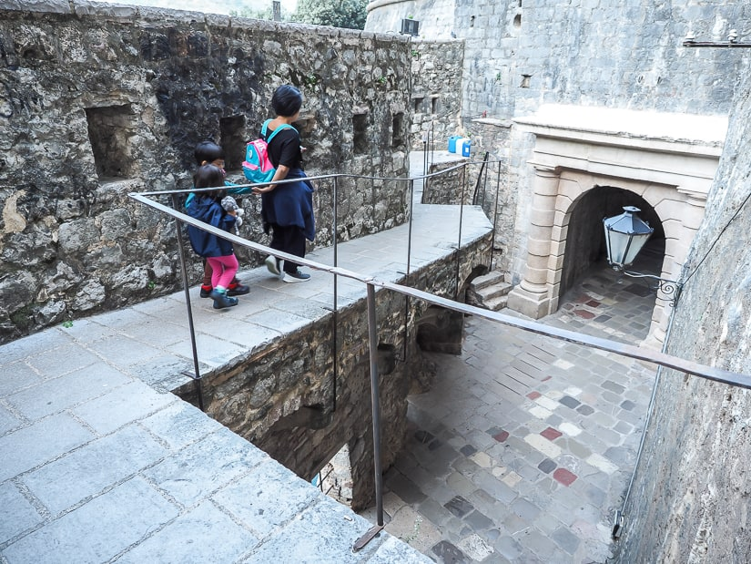 My wife and kids walking along the old city walls of Kotor