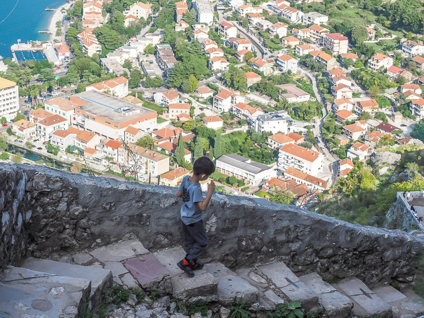 My son hiking down from Kotor Fortress