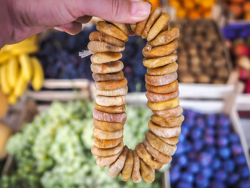 Ring of dried figs at Kotor Produce Market, the best place to buy groceries in Kotor Old Town
