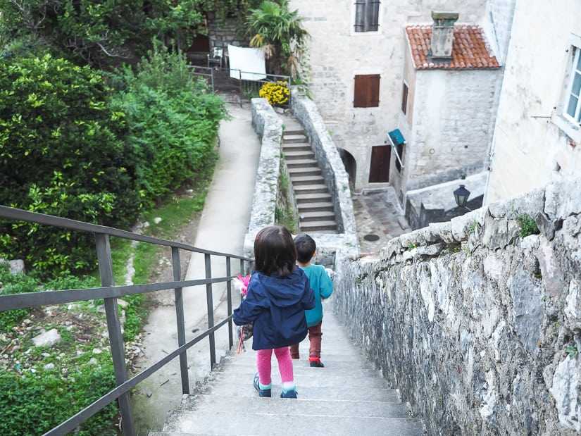 Walking along the city walls of kotor with our kids