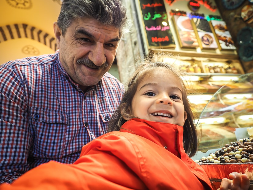 My daughter with a Turkish vendor in the Spice Market, Istanbul