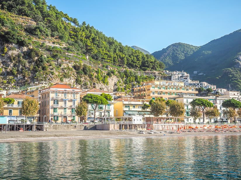 Hotels along the beach in Maiori, Amalfi coast