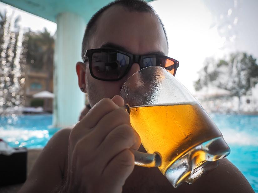Me having a beer at the swim-up-bar at the Grand Hyatt pool