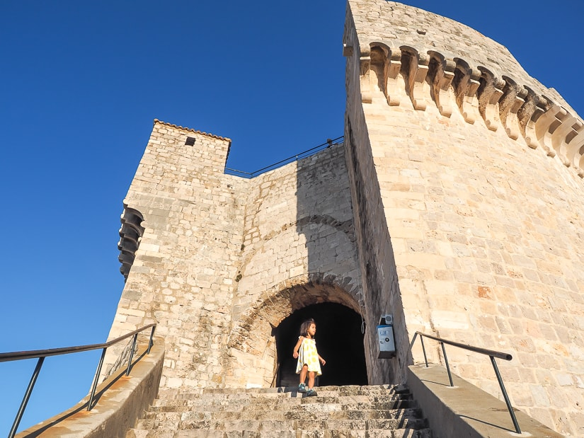 My daughter on the stairs of Minčeta Fort on the Dubrovnik Old City walls walk