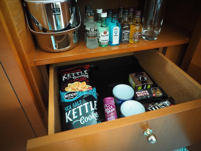 Mini bar in our Grand Hyatt Muscat room