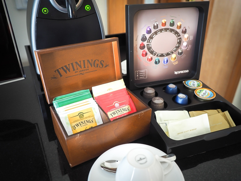 Nespresso machine and tea in our room at the Grand Hyatt Muscat