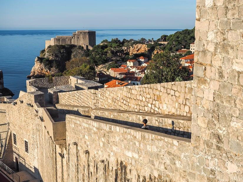 Walking the old city walls of Dubrovnik with children