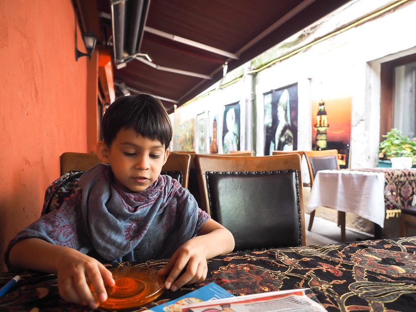 Sage waiting for our meal at Old Ottoman Cafe Istanbul