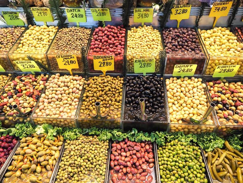 Assortment of olives in Kadikoy Market Istanbul
