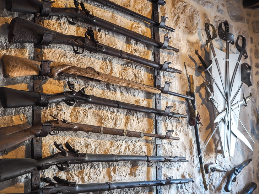Guns and swords in the Our Lady of the Rocks museum in Perast
