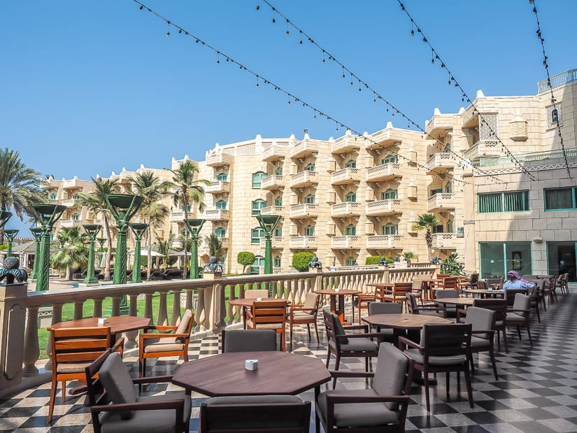 Outdoor patio section of Mokha Cafe, Grand Hyatt Muscat
