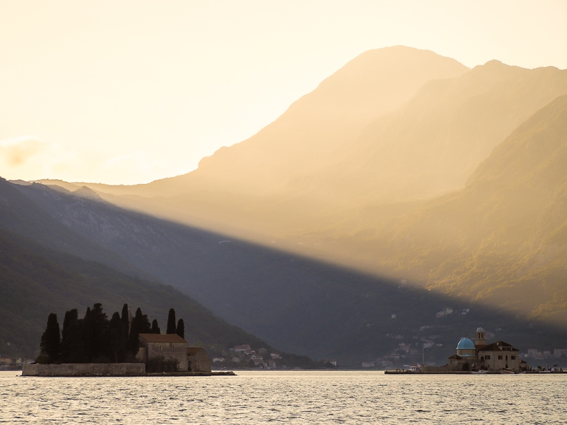 View of Bay of Kotor from Perast at dusk
