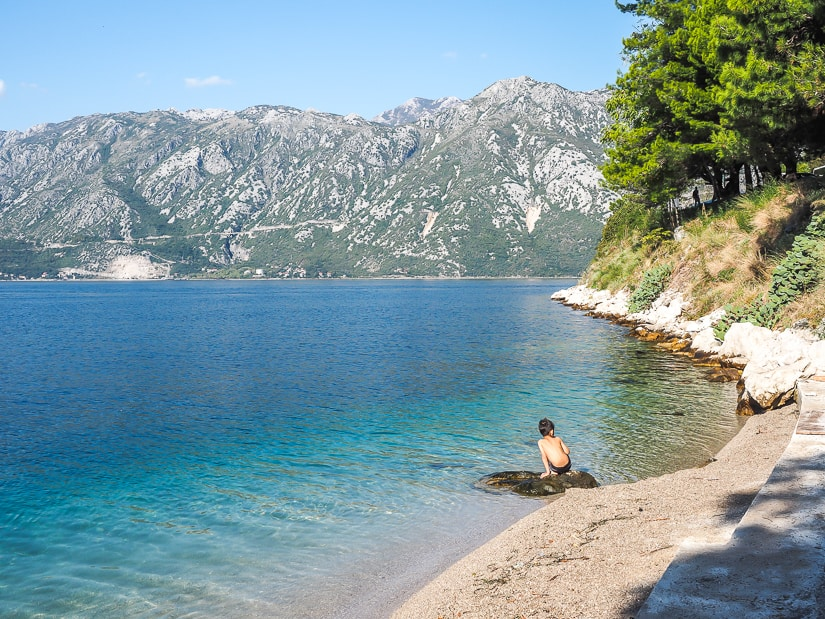 Visiting the beach in Perast Montenegro with kids
