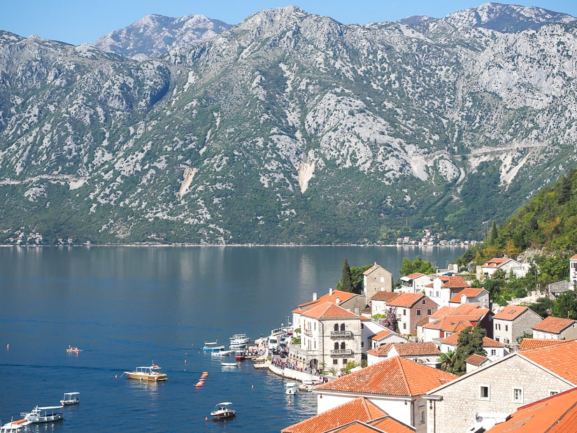 View of Perast from the Bell Tower, the best viewpoint in Perast