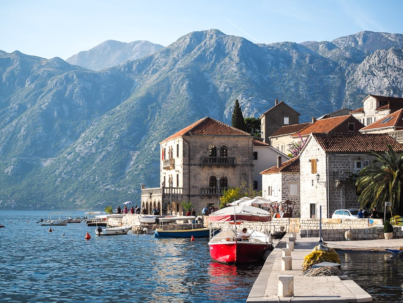 A view of the Perast waterfront and a palace