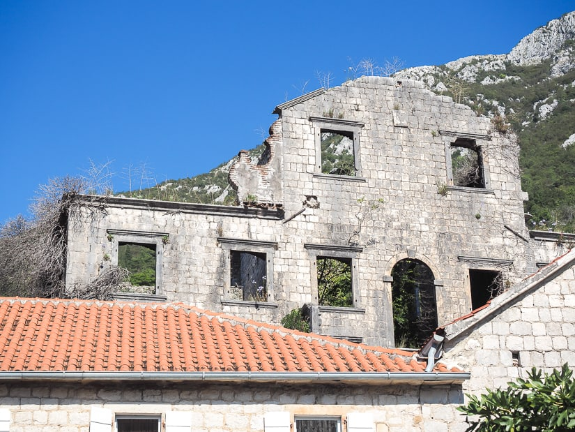 Old remains of a palace in Perast