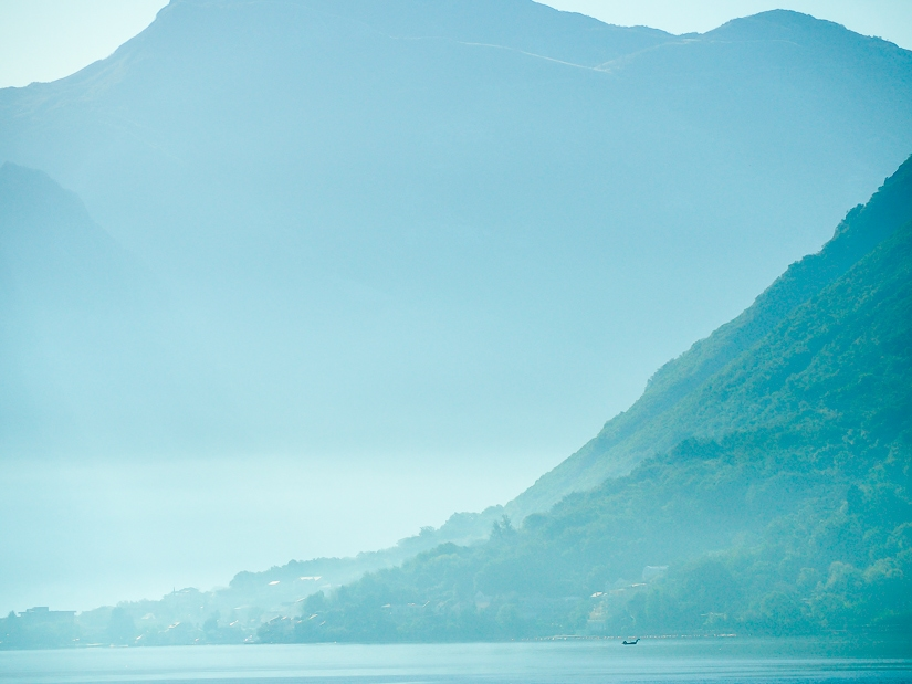 Early morning mist over the Bay of Kotor in Perast