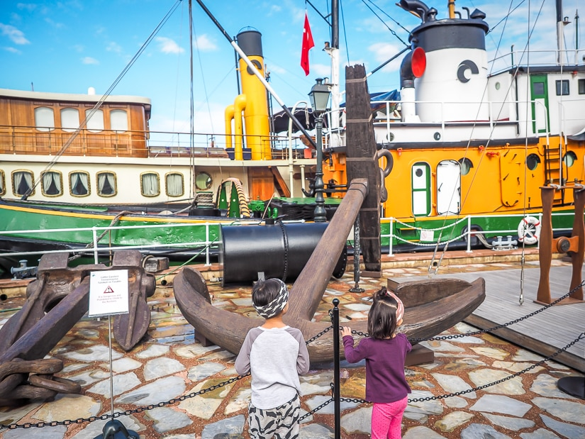 Our kids in the ships and anchors section at the Rahmi M. Koc Museum in Istanbul