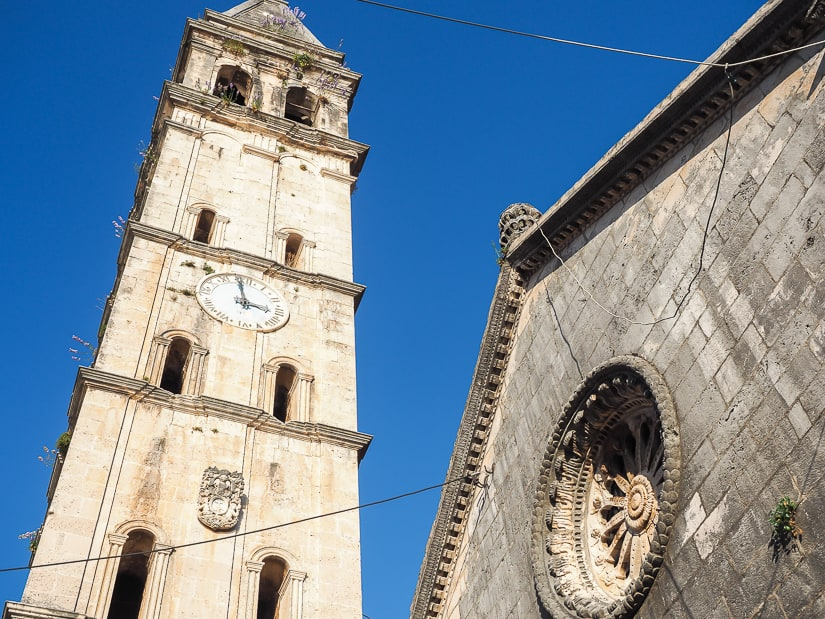 Perast Bell Tower beside St. Nikola Church. Climbing it is one of the most popular things to do in Perast