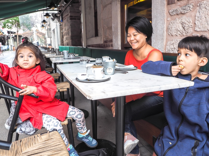 At a cafe in Sultanahmet with kids