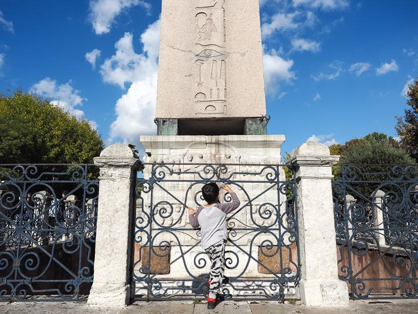 Sultanahmet Square obelisk with kids