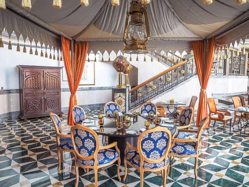 Arabian tent seating in Mokha Cafe, Grand Hyatt Muscat