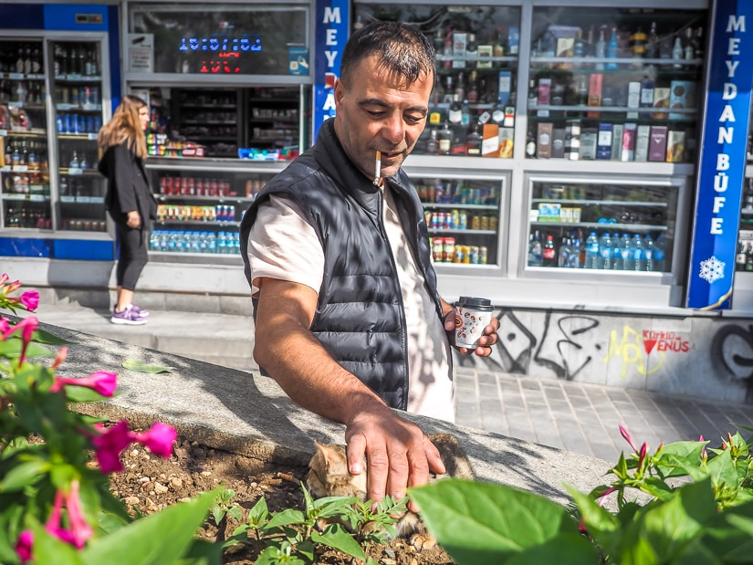 A Turkish man petting a cat in Istanbul
