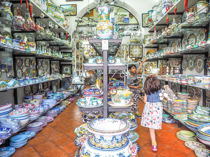 Our kids looking in a pottery shop in Vietri sul Mare Italy