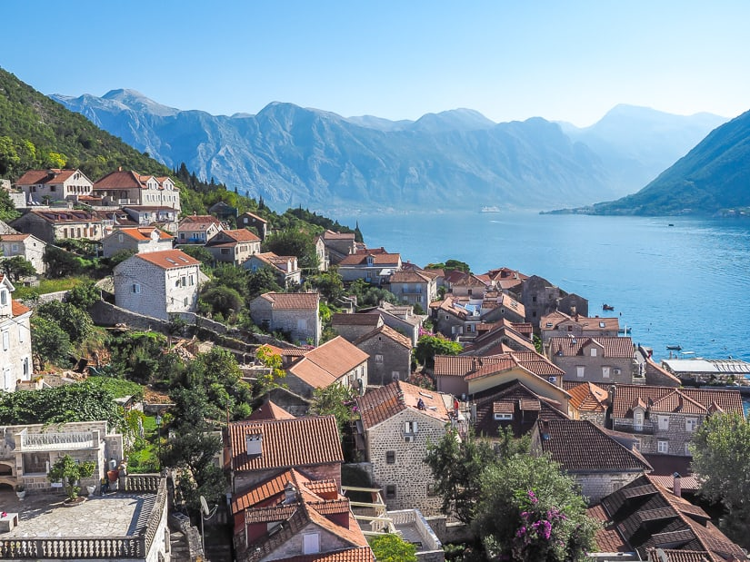 Beautiful view from Perast Tower at St. Nikola Church Montenegro