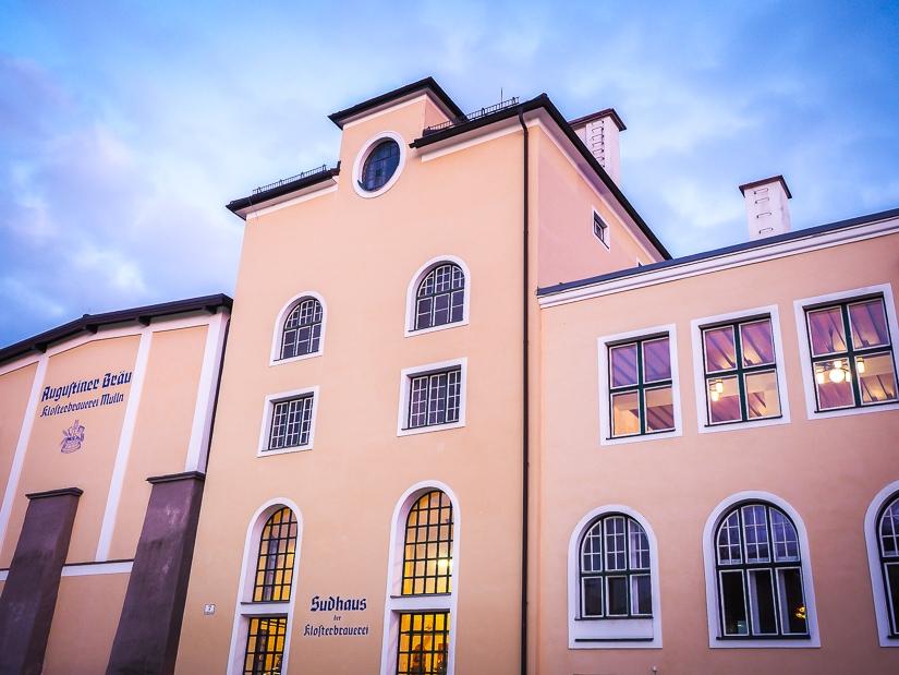 Exterior view of Augustiner Brau brewery and beer hall in Salzburg, Austria