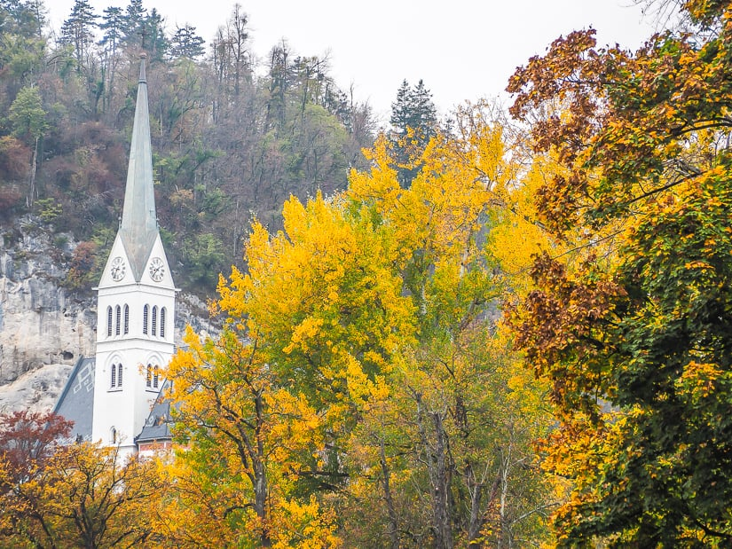 St. Martin's Parish Church (Bled Church) with fall colors in November