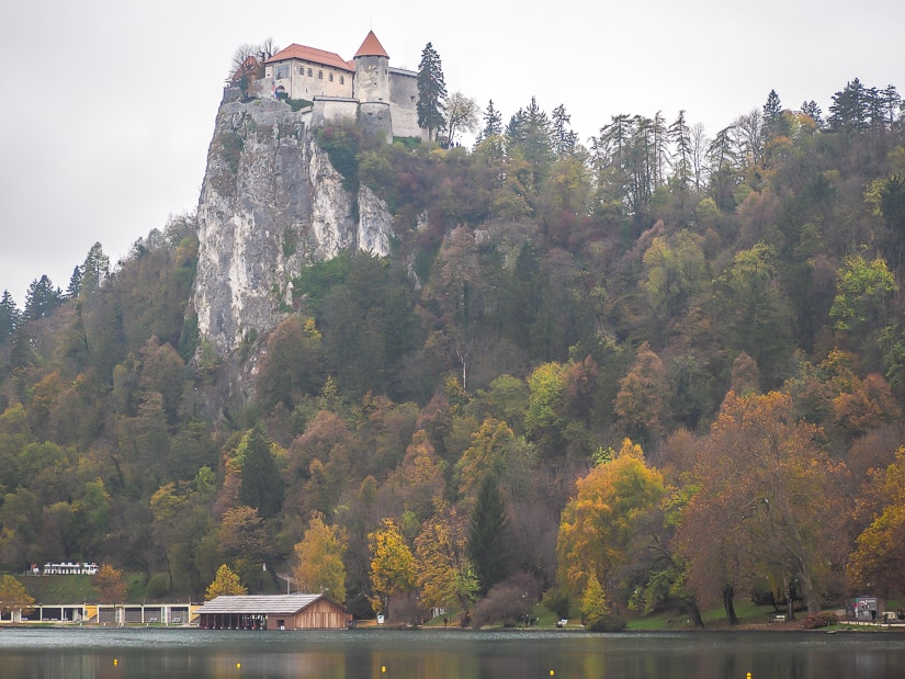 Bled Castle in October, just when the trees were starting to change colors in autumn at Lake Bled