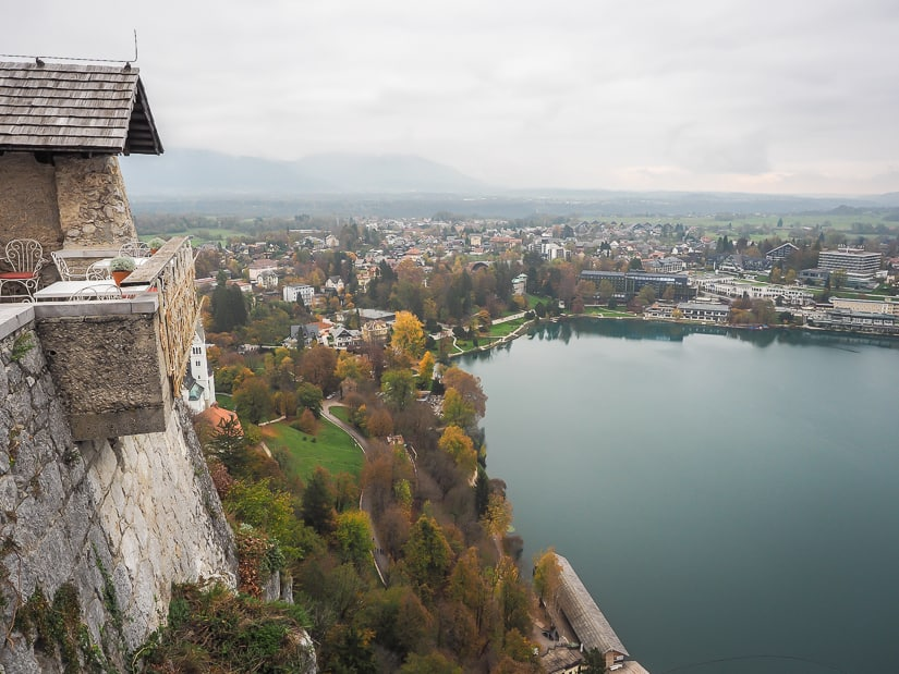 View of Bled tourist town from Bled Castle Cafe on a gray autumn day