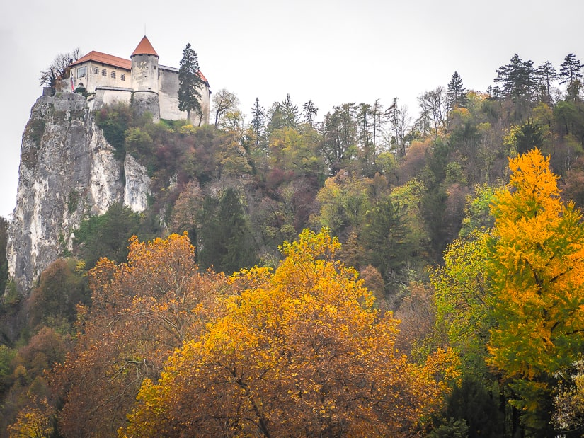Bled Castle in October with autumn foliage