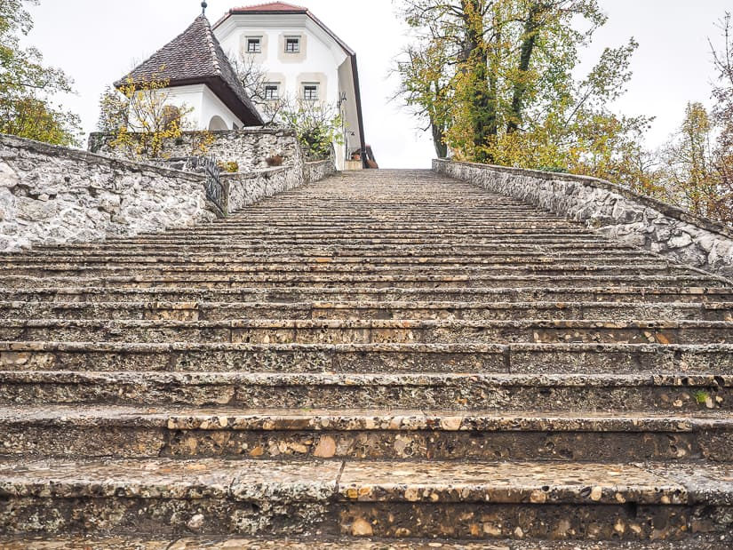 Staircase up to church on Bled Island in the shoulder season