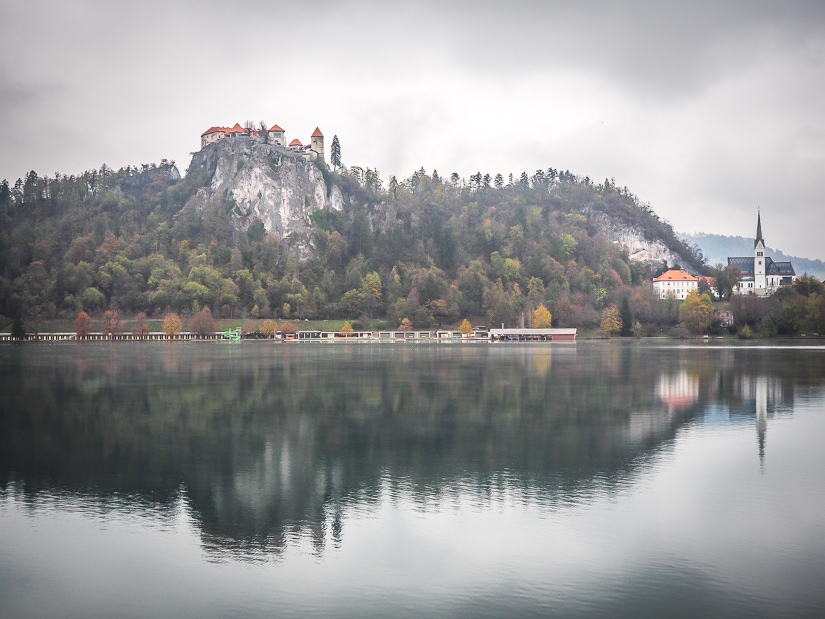 Typical scene of Bled Castle and Bled Church in November