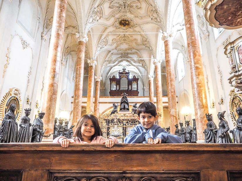 Our kids in Hofkirche (Court Church), Innsbruck