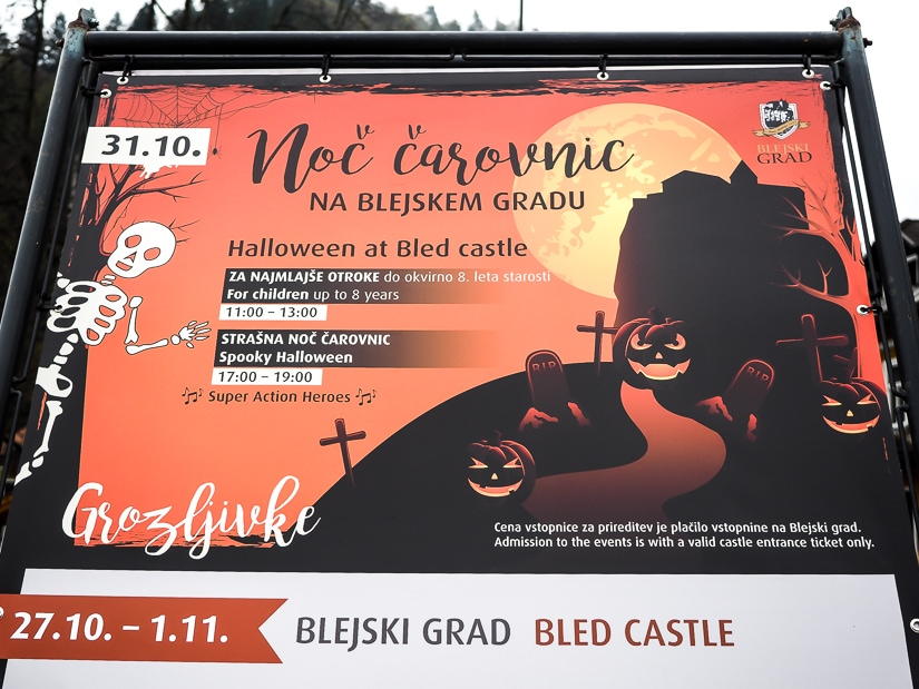Sign for a Halloween activity at Lake Bled Castle