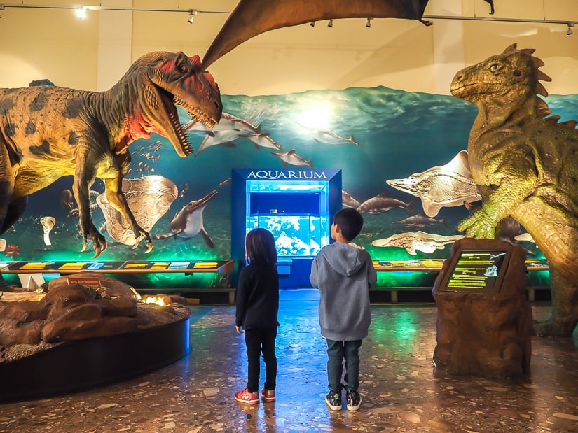 Our kids in the dinosaur room at the Salzburg Museum of Science and Technology (Haus der Natur)