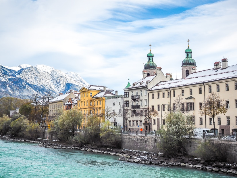 View of Innsbruck Old City from Innbrücke bridge