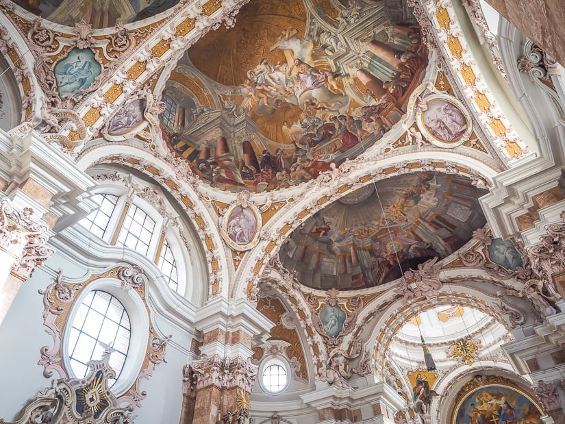 Interior of Innsbruck Cathedral (Cathedral of Saint James) with kids