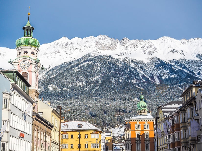 View of Innsbruck in winter with mountains in the background