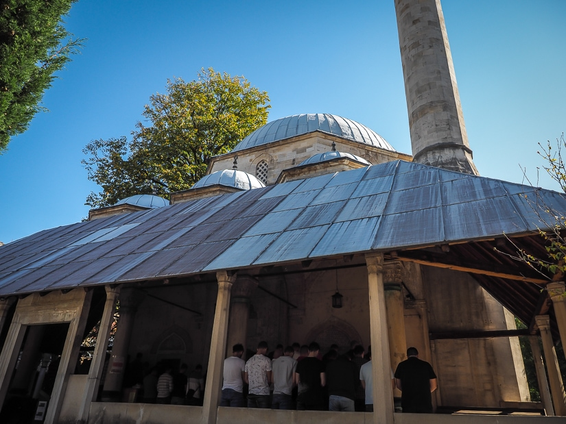 Karadoz Bey Mosque, Mostar, filled with local Muslim worshippers at prayer time