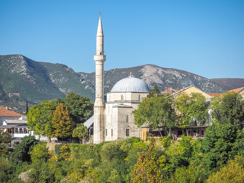 Koskin-Mehmed Pasha's Mosque, viewed from Stari Most in Mostar. This is the most famous mosque in Mostar