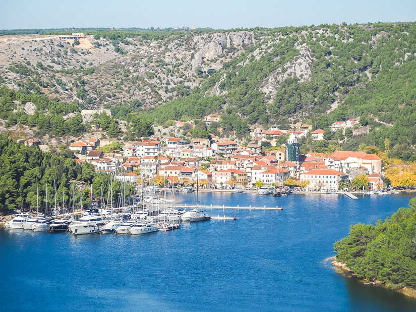View of Skradin from Krka Rest Stop