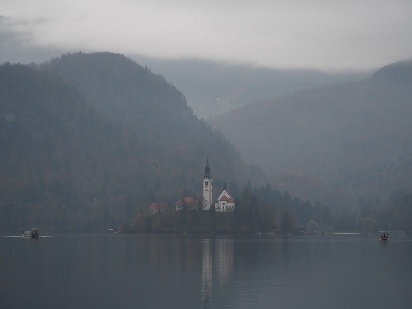 Photo of Bled Island on a very gray day