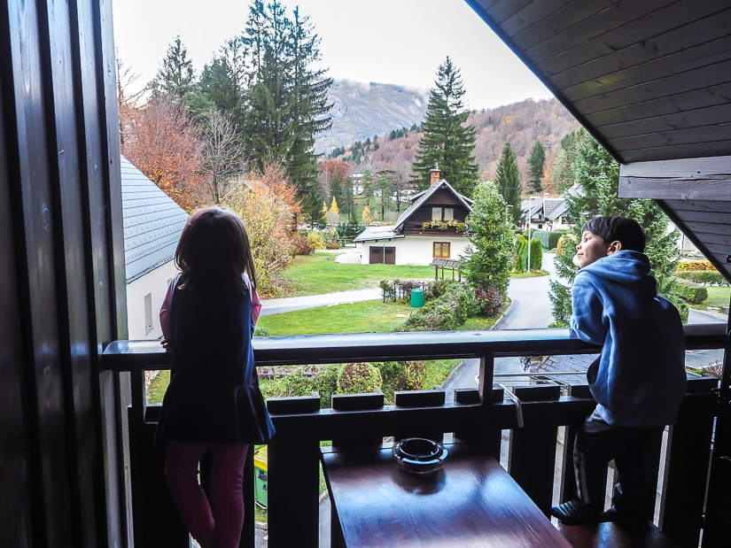 Our two kids on the balcony of our hotel at Lake Bohinj