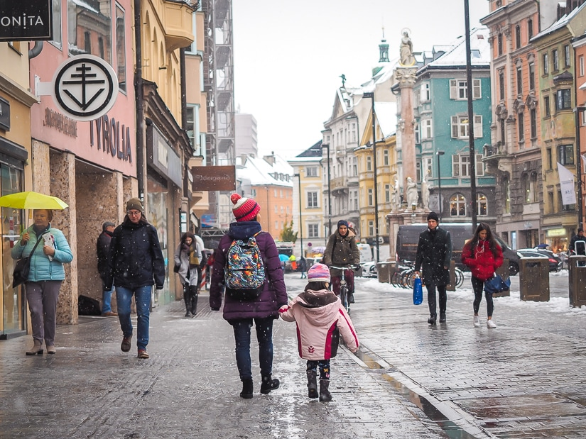 My wife and daughter walking down Maria-Theresien-Strasse, the main tourist street in Innsbruck